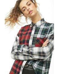 Forever 21 - Women's Panelled Plaid Shirt - Lyst