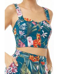 Forever 21 - Tropical Print Crop Top , Teal/green - Lyst