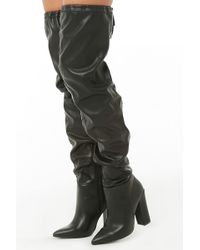 235c3ed2a2a Lyst - Forever 21 Faux Suede Thigh-high Boots in Black