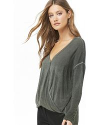 Forever 21 - Mineral Wash Surplice Top - Lyst