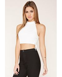 Forever 21 - Lace-up High Neck Crop Top - Lyst