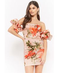 Forever 21 - Floral Off-the-shoulder Homecoming Dress - Lyst