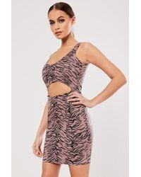 Missguided - Tiger Print Cutout Dress At - Lyst