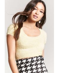 0f6036967ed469 Lyst - Forever 21 Fuzzy Amore Graphic Crop Top in Red