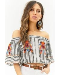 Forever 21 - Floral Embroidered Striped Off-the-shoulder Crop Top - Lyst