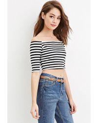 16e213e4050a3 Forever 21 Women s Stripe Off-the-shoulder Crop Top in Black - Lyst