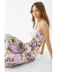 Forever 21 - Floral Self-tie Cami Jumpsuit , Lavender/ivory - Lyst