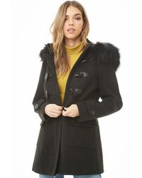 Forever 21 - Faux Fur-trim Toggle Coat - Lyst