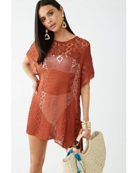 3021a12866 Forever 21 - Women's Crochet Swim Cover-up Dress - Lyst