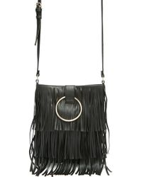 Lyst - Forever 21 Faux Leather Ring Crossbody Bag in Black f4176a9157de9