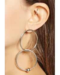 Forever 21 - Beaded Hoop Drop Earrings - Lyst