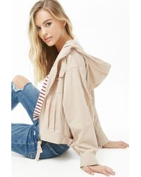 fbd23942aaf6 Forever 21 - Zip Front Hooded Jacket , Tan - Lyst