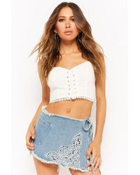 Forever 21 - Embroidered Denim Mini Skort - Lyst