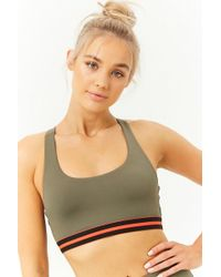 80246ade7d Forever 21 High Impact - Faux Leather-paneled Sports Bra in Black - Lyst