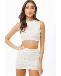 Forever 21 - Mesh Crop Top & Mini Skirt Set - Lyst
