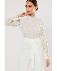 Missguided - Lace Combo Jumpsuit At - Lyst