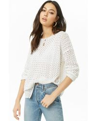 Forever 21 - Crochet-knit Sweater , White - Lyst