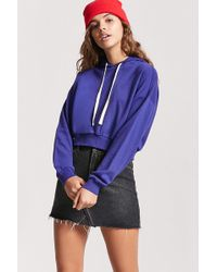 1fbdf0db083a1 Forever 21 French Terry Cropped Hoodie in Metallic - Lyst
