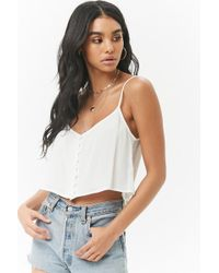 Forever 21 - Crepe Button-front Cropped Cami - Lyst