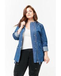 Forever 21 Women's Plus Size Chambray Utility Jacket - Blue