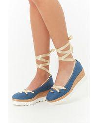 Forever 21 - Lace-up Denim Platform Shoes - Lyst