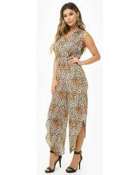 490bd4fd3b5f Forever 21 - Crepe Leopard Print Slit-leg Jumpsuit - Lyst