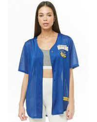 14e587919bc417 Lyst - Forever 21 Golden State Warriors Raw-cut Crop Tee in Blue