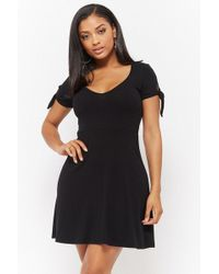 Forever 21 - Ribbed Knotted-sleeve Dress - Lyst