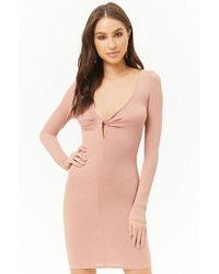 Forever 21 - Ribbed Knit Bodycon Dress , Mauve - Lyst