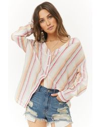 Forever 21 - Faded Multicolor Striped Open-shoulder Top - Lyst