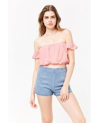 80da99670d9788 Lyst - Forever 21 Women s Striped Off-the-shoulder Crop Top in White
