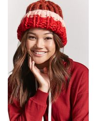 Forever 21 - Chunky Ribbed Knit Colorblock Beanie - Lyst