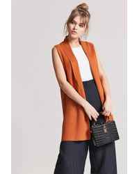 Forever 21 | Ribbed Knit Sleeveless Cardigan | Lyst