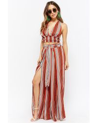 8de6787971 Forever 21 - Striped Halter Crop Top   Pants Set - Lyst