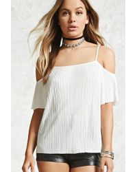 Forever 21 - Pleated Open-shoulder Top - Lyst