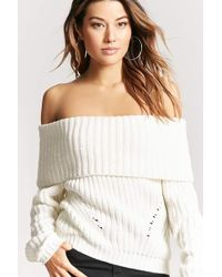 Forever 21 | Ribbed Off-the-shoulder Sweater | Lyst