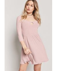 Forever 21 - Women s Heathered Cutout Skater Dress - Lyst 701772f6c