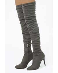 Forever 21 - Faux Suede Thigh High Boots - Lyst