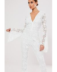 Missguided Crochet Lace Jumpsuit At , Ivory