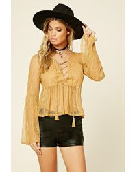 Forever 21 - Lace-up Babydoll Top - Lyst
