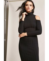 Forever 21 - Ribbed Open-shoulder Bodycon Dress - Lyst