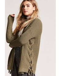 Forever 21 - Lace-up Cardigan - Lyst