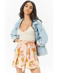 Forever 21 - Pleated Floral Mini Skirt - Lyst