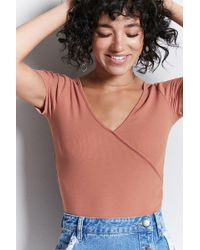 Forever 21 - Ribbed Faux-wrap Top - Lyst