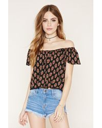 c89df2782bc Forever 21 Off-the-shoulder Choker Top in Black - Lyst