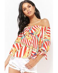 Forever 21 - Off-the-shoulder Striped Baroque Top - Lyst