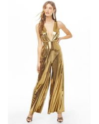 2932f400f924 Forever 21 - Plunging Metallic Jumpsuit - Lyst