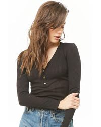 b4ed0f9b1fa73c Forever 21 Ribbed Mock Neck Top in Black - Lyst