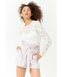 Forever 21 - Pinstriped Paperbag-waist Shorts - Lyst