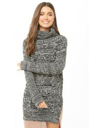 Forever 21 - Cable Knit Longline Turtleneck Sweater - Lyst